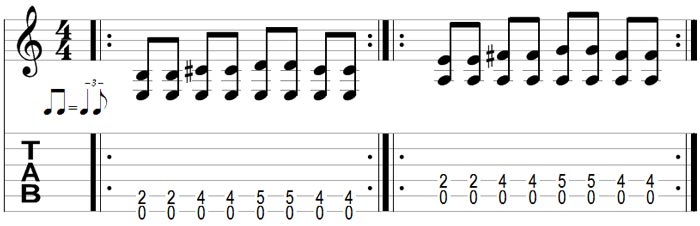 Exercise 3 shows you how to set up a blues shuffle using your loop pedal