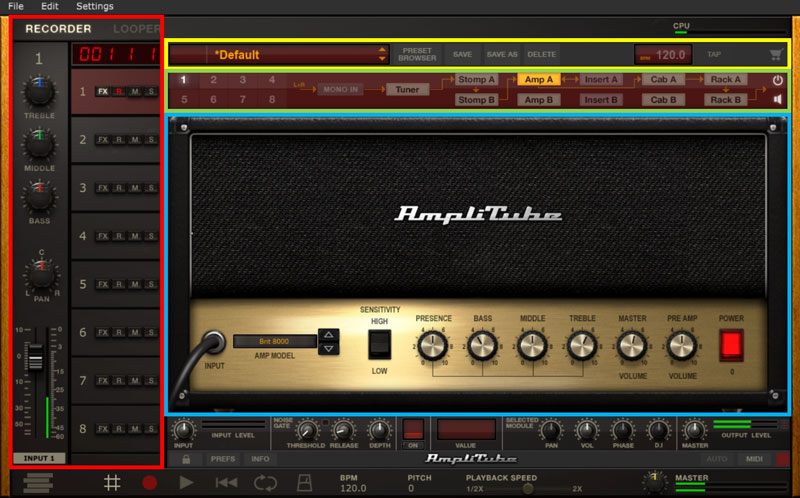 AmpliTube 4 main sections