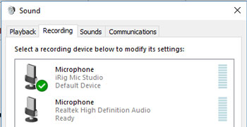 iRig Mic Studio in Windows 10