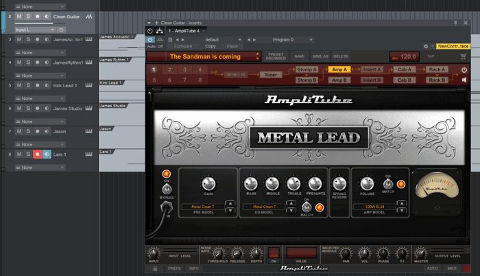 AmpliTube in DAW