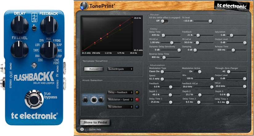 TC Electronic Flashback Pedal and TonePrint Editor