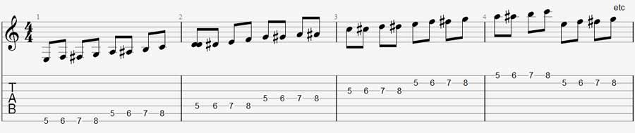 7 string guitar exercise 1b