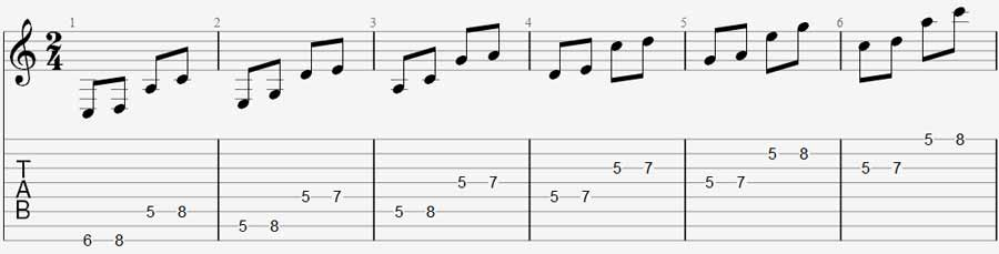 8 string guitar exercise 2a