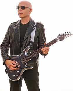 Joe Satriani with chrome Ibanez