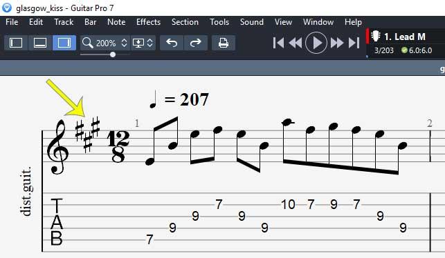 Guitar Pro 7 key signature