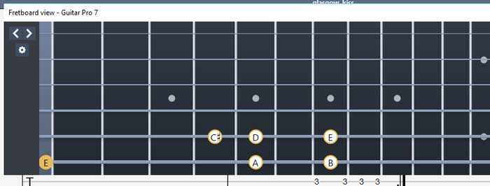 Guitar Pro 7 highlighted notes on fretboard diagram