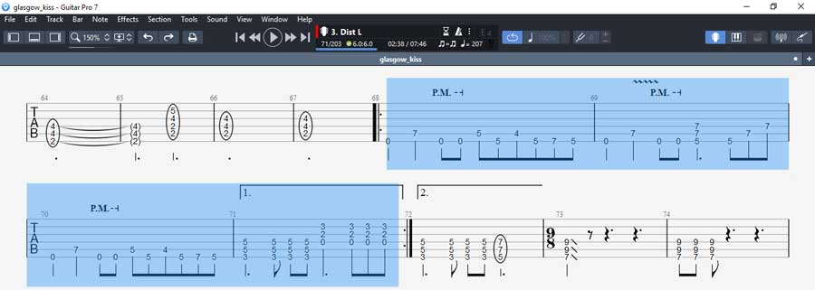 Guitar Pro 7 highlight rhythm guitar