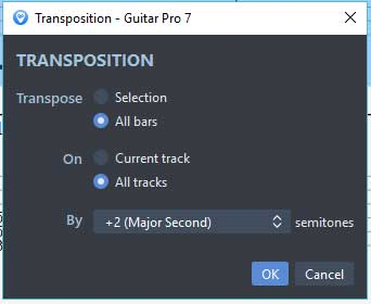 Guitar Pro 7 transpose up