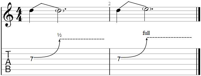 Simple bend exercise in Guitar Pro 7