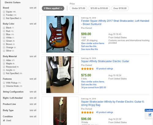 eBay sold used guitars