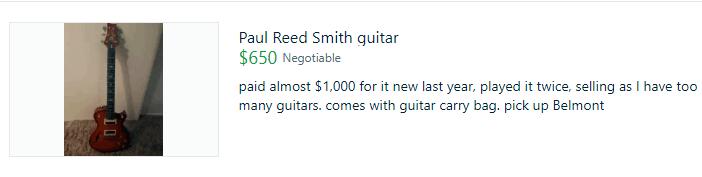Guitar selling on Gumtree