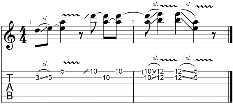 Guitar slide example in standard tuning
