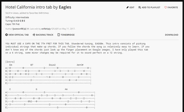 Hotel California text based Guitar TAB