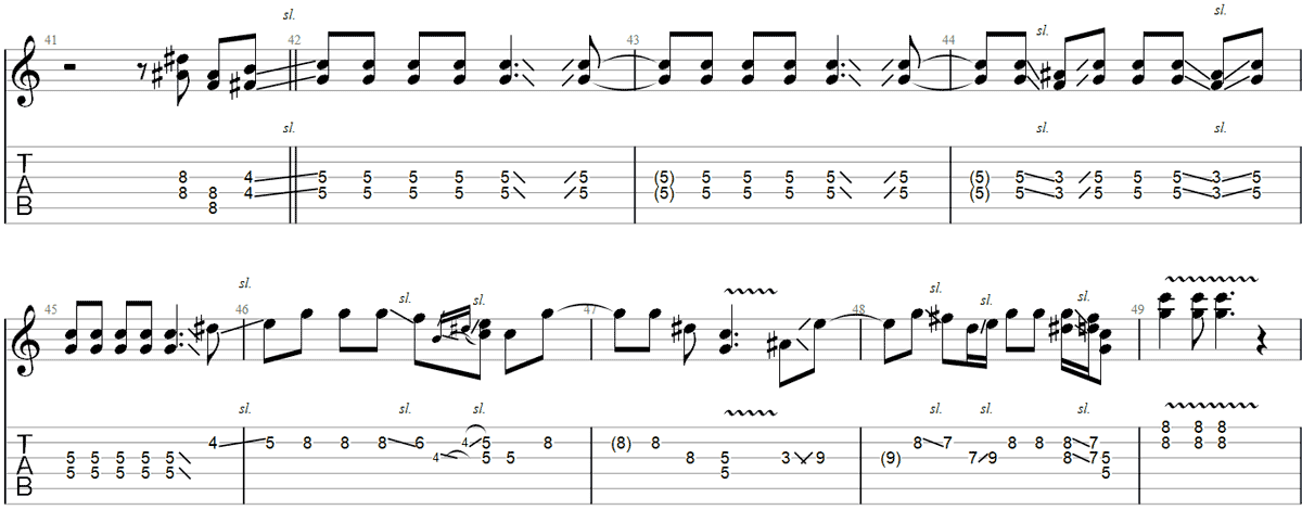 Sharp Dressed Man guitar slide TAB