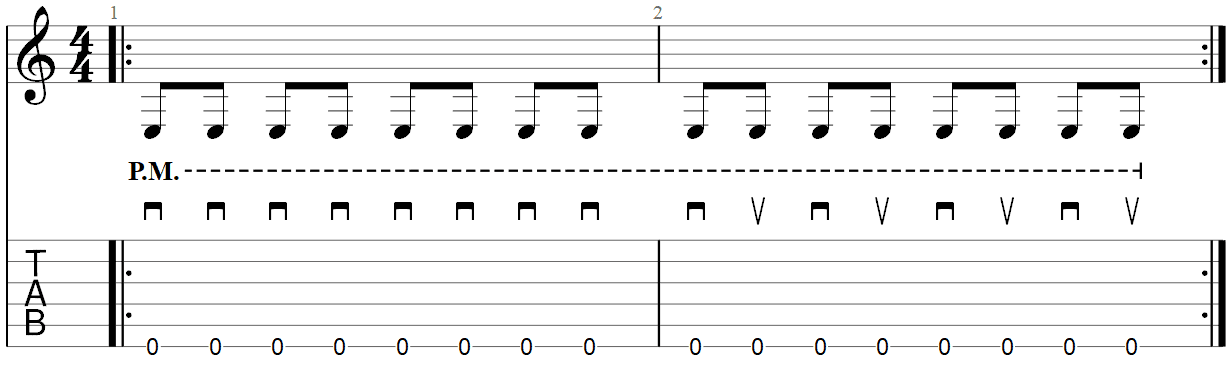 Metallica Down-Picking guitar exercise