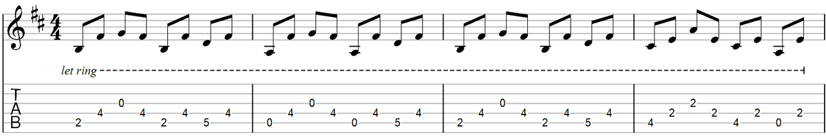 Fade to black intro guitar riff TAB