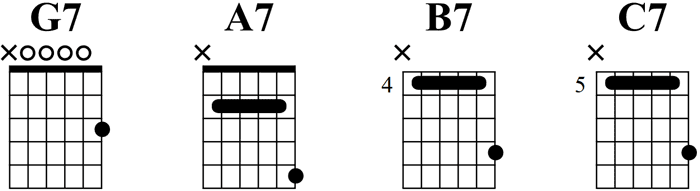 Open G Tuning Seventh Chords