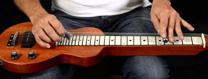 Playing lap steel guitar