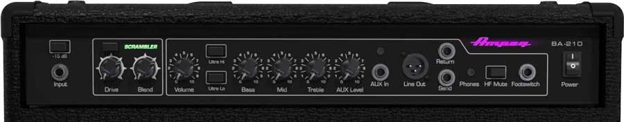 Bass amp front panel