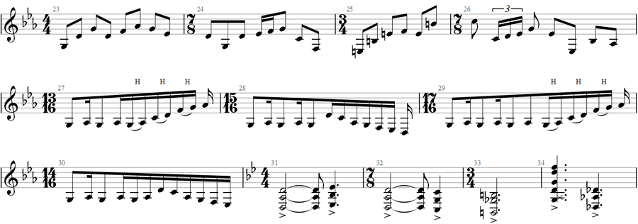 Dance of eternity time signature changes