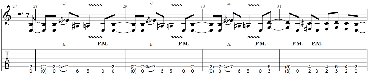 Enter sandman guitar riff TAB 2