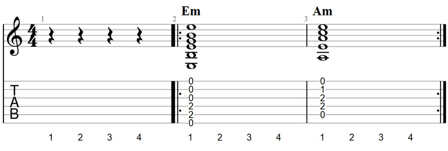 Guitar chords practice exercise 3