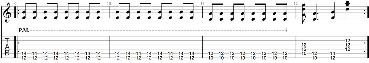 Paranoid guitar riff TAB 2