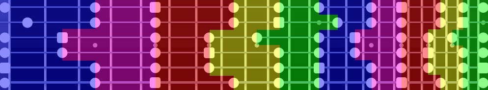 Pentatonic scale shapes on fretboard