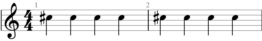 Repeated sharp notes 2