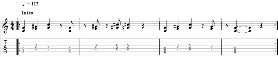 Sheet music example for guitar