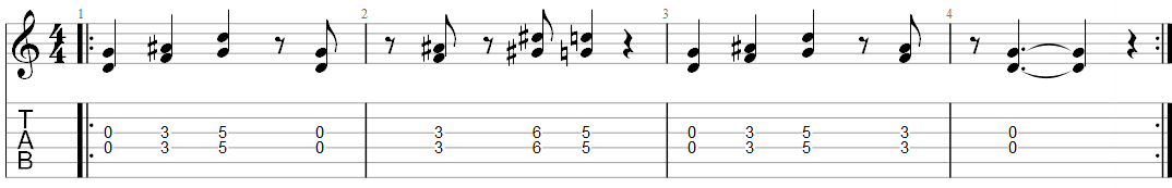 Smoke on the water guitar riff 1 TAB