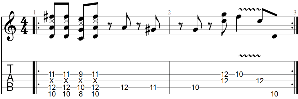 Sunshine of your love guitar riff TAB 3