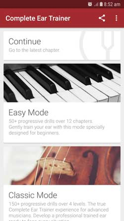 Complete ear trainer modes
