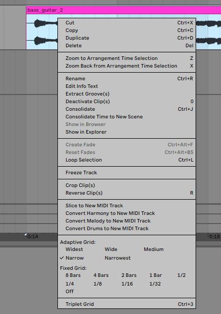 Ableton Live Audio Editing