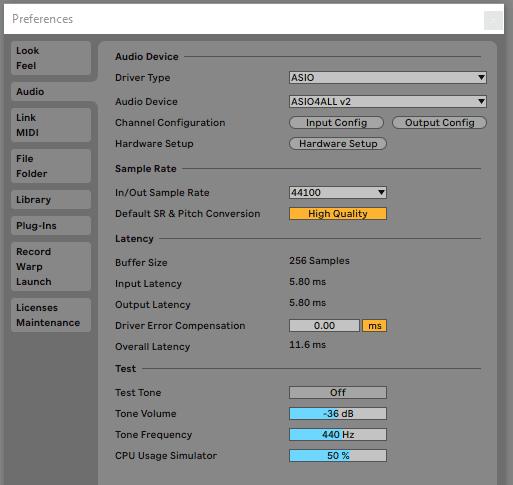 Ableton Live audio settings