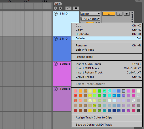 Ableton delete tracks