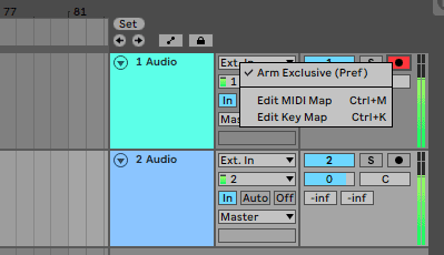 Ableton enable multi track recording