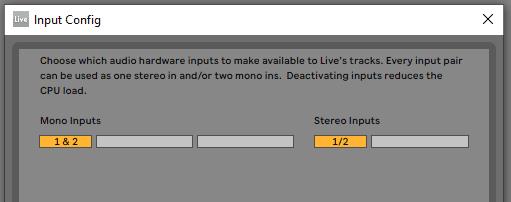 Ableton input config