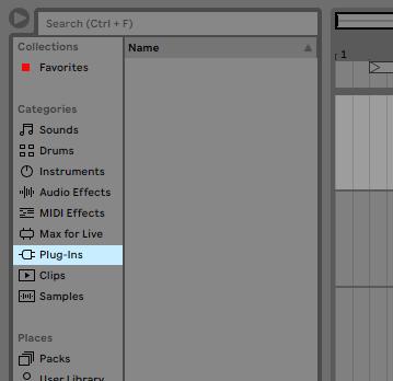 Ableton plugins screen