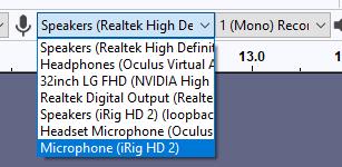 Audacity audio inputs