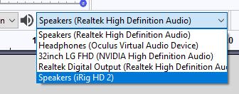 Audacity audio outputs