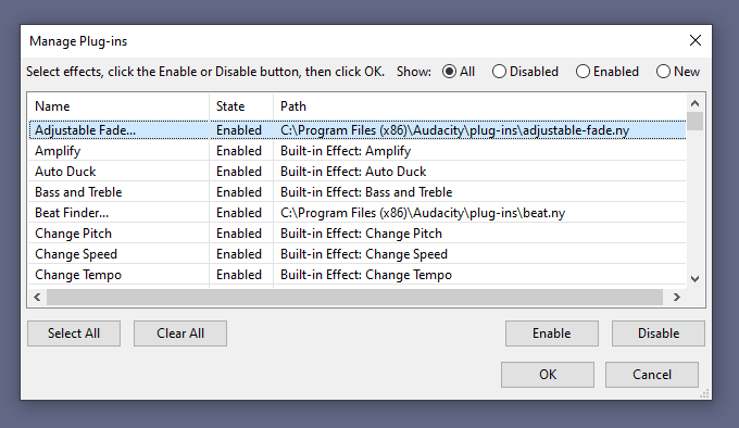 Audacity plugins manager