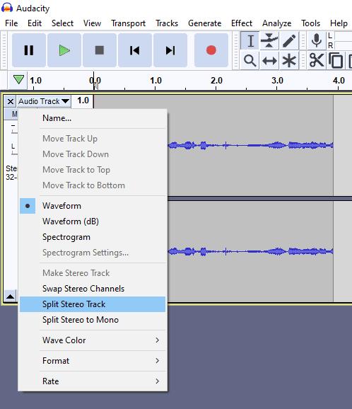 Audacity split stereo track to mono