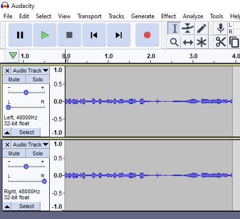Audacity two tracks