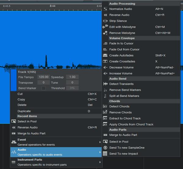 DAW audio editing tools