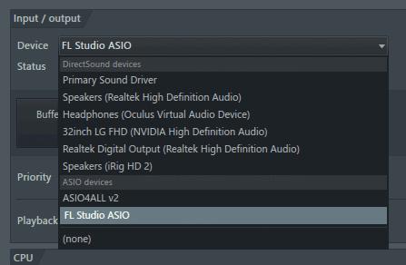 FL Studio audio devices