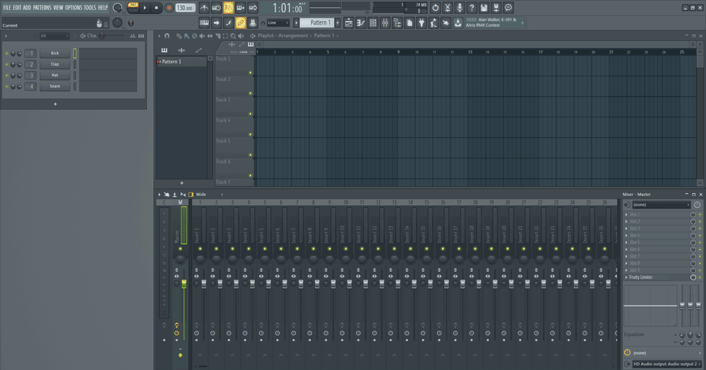 FL Studio mixer view