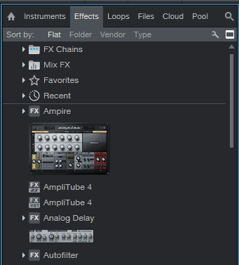 Studio One effects panel