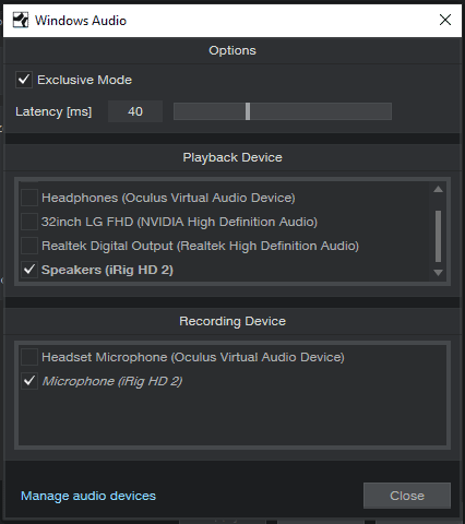 Studio One Windows Audio settings