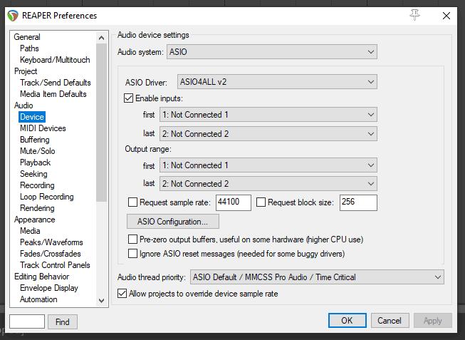 Reaper audio preferences
